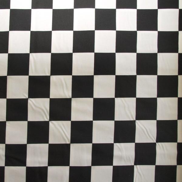 Baumwollstoff Racing-Karo schwarz-weiß