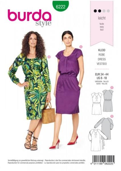Burda Schnitt Kleid mit Fältchen am Ausschnitt –Raglanärmel 6222