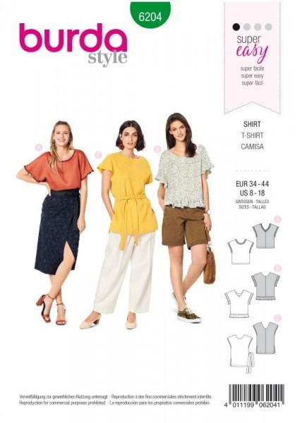 Burda Schnitt Blusenshirt – überschnittene Schultern –V-Ausschnitt 6204