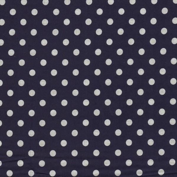 Baumwollstoff JUDITH Tupfen dunkelblau-weiß 7 mm