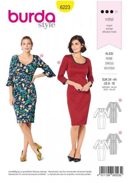 Burda Schnitt Kleid mit Taillenblende –zweierlei Ausschnitt 6223