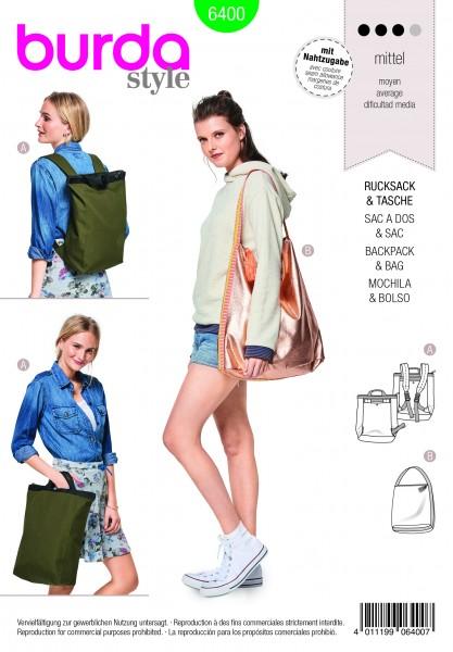 Burda Schnitt Stylischer City-Rucksack – Shopper mit Reißverschluss 6400
